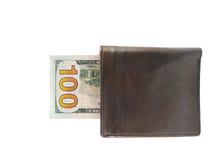 Новые 100 долларовых банкнот в бумажнике Стоковые Изображения RF