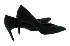 Новые пары пяток черного бархата высоких, красивых ботинок для дам Стоковая Фотография RF