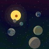 Новые планеты нашли в другой солнечной системе в космосе Стоковые Фото