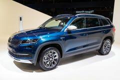 Новый автомобиль разведчика SUV Skoda Kodiaq Стоковое фото RF