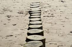 Новый волнорез на пляже Стоковые Изображения RF