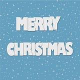 Новый Год бумажного origami искусства с Рождеством Христовым и счастливый в сини с иллюстрацией вектора снега Стоковое фото RF