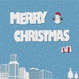 Новый Год бумажного origami искусства с Рождеством Христовым и счастливый с иллюстрацией снега Стоковое фото RF