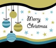 Новый Год веселого рождества счастливый, дизайн поздравительной открытки с 4 вися безделушками шарика рождества в простом плоском иллюстрация вектора