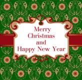 Новый Год винтажной карточки с Рождеством Христовым и счастливый иллюстрация штока