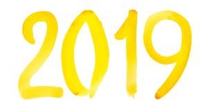 Новый Год 2019 - вручите вычерченный желтый номер акварели стоковое изображение rf