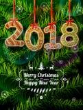 Новый Год 2018 в форме пряника против сосны разветвляет Стоковое Фото