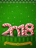 Новый Год 2018 в форме ручки конфеты в связанном карманн Стоковые Изображения