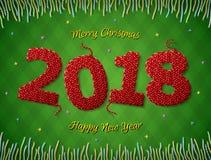 Новый Год 2018 в форме связанной ткани на checkered предпосылке Стоковая Фотография