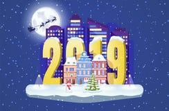 Новый Год 2019 Городской пейзаж зимы со снеговиком и елью рождества Иллюстрация городка вектора бесплатная иллюстрация