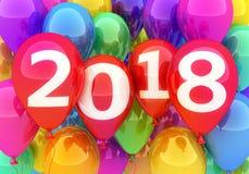 Новый Год знака 2018 и много воздушный шар Стоковое Фото