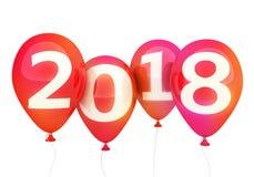 Новый Год 2018 знака на красном воздушном шаре Стоковое Фото