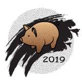 Новый Год 2019, иллюстрация Золотое piggy иллюстрация штока