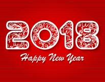 Новый Год 2018 иллюстрация 3D 2018 белых номеров на красной предпосылке Стоковые Изображения RF