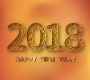 Новый Год 2018 иллюстрация 3D 2018 золотых чисел на предпосылке золота бесплатная иллюстрация