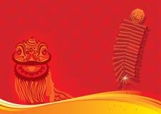 Новый Год льва firecra дня танцы предпосылки Стоковое Фото
