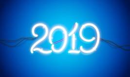 Новый Год 2019 неоновой вывески Стоковое Изображение RF