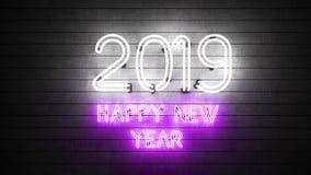 Новый Год 2019 Неоновые формы с светами стоковое изображение rf