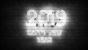 Новый Год 2019 Неоновые формы с светами стоковые изображения rf