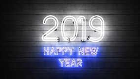 Новый Год 2019 Неоновые формы с светами стоковая фотография
