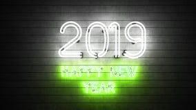 Новый Год 2019 Неоновые формы с светами стоковые фотографии rf