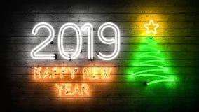 Новый Год 2019 Неоновые формы с светами стоковое изображение