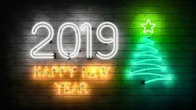 Новый Год 2019 Неоновые формы с светами иллюстрация штока