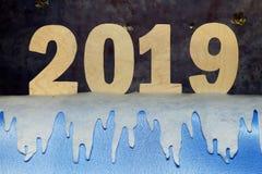 Новый Год 2019 Номер года сделанный из переклейки стоковые изображения rf