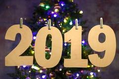 Новый Год 2019 Номер года сделанный из переклейки стоковая фотография rf