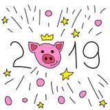 Новый Год 2019 Открытка с стороной свиньи бесплатная иллюстрация