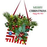 Новый Год письма габарита рождества красивейшего смычка праздничное рождество веселое счастливое Новый Год Стоковое Изображение