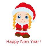 Новый Год поздравительной открытки счастливый также вектор иллюстрации притяжки corel иллюстрация штока