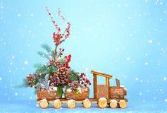 Новый Год предпосылки Локомотив носит украшения рождественской елки и рождества Стоковое Изображение RF