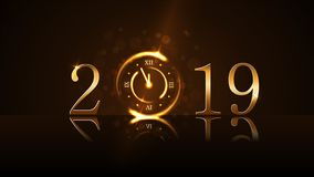 Новый Год предпосылки счастливое Волшебная минута комплекса предпусковых операций 5 часов золота Золотые 2019 Свет дизайна ночи р бесплатная иллюстрация