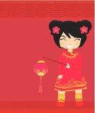 Новый Год приветствию девушки карточки китайское Стоковые Изображения