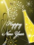 Новый Год приветствию золота 2009 карточек Стоковые Изображения RF