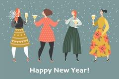 Новый Год приветствию карточки Девушки на партии стоковое изображение