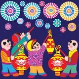 Новый Год приветствиям девушок мальчиков Стоковая Фотография RF
