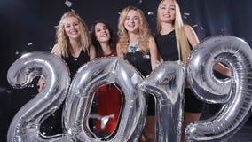 Новый Год принципиальной схемы счастливое Группа в составе молодые женщины имеет потеху и держит более большие 2019 видеоматериал