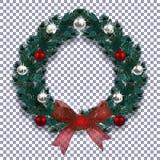 Новый Год рождества Голубая ветвь спруса в форме венка рождества с тенью Красный смычок, серебр и красные шарики Стоковые Изображения