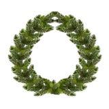Новый Год рождества Зеленая ветвь спруса в форме венка рождества с конусами На белой предпосылке Стоковое Фото