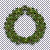 Новый Год рождества Зеленая ветвь спруса в форме венка рождества с тенью на предпосылке прозрачной Стоковое фото RF