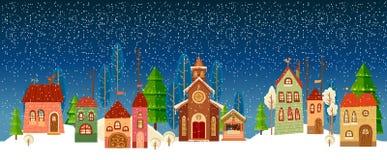 Новый Год рождества карточки Церковь Дерево иллюстрация штока