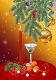 Новый Год рождества предпосылки Ветви сосны, свечи, апельсин Стоковое Изображение