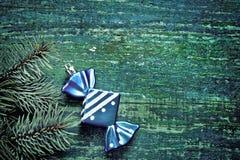 Новый Год рождества предпосылки Голубая игрушка рождества в форме Стоковое Фото