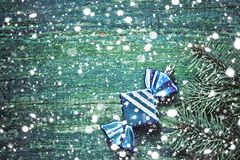 Новый Год рождества предпосылки Голубая игрушка рождества в форме Стоковые Изображения RF