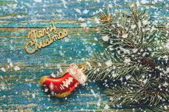Новый Год рождества предпосылки Красный носок Санта Клаус игрушки и Стоковые Фото