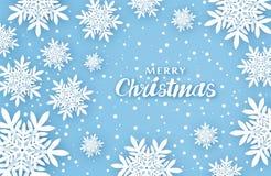 Новый Год рождества предпосылки Создает комфорт Объемные снежинки с тенями в голубых тонах иллюстрация штока