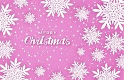 Новый Год рождества предпосылки Создает комфорт Объемные снежинки с тенями, в розовых тонах бесплатная иллюстрация