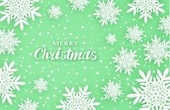 Новый Год рождества предпосылки Создает комфорт Объемные снежинки с тенями в зеленых тонах иллюстрация вектора